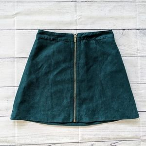 H&M Divided Teal Suede Zip Front Skirt